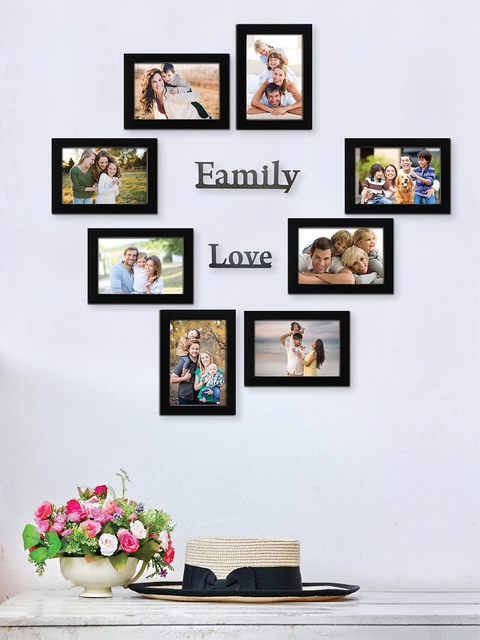 RANDOM Set of 8 Black Solid Individual Wall Photo Frames With Plaques