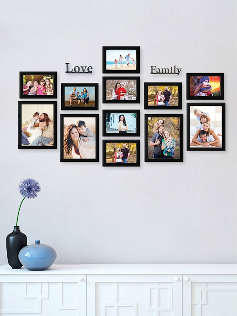 RANDOM Unisex Set of 12 Black Solid Photo Frames With 2 Love & Family Plaques