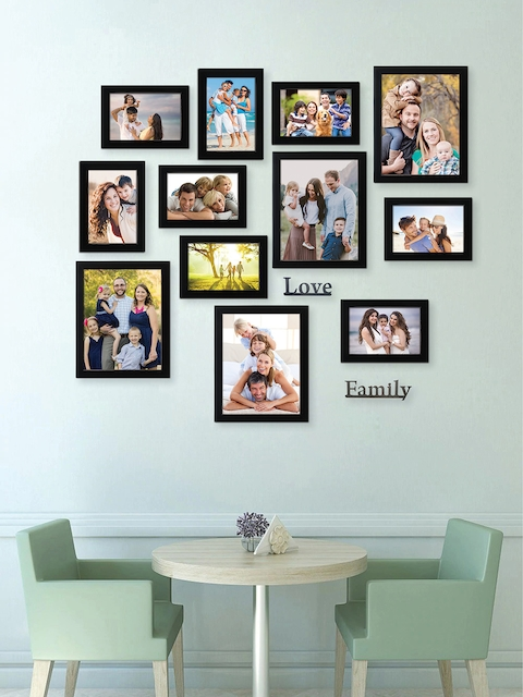 RANDOM Set of 12 Black Solid Individual Photo Frame With Plaques