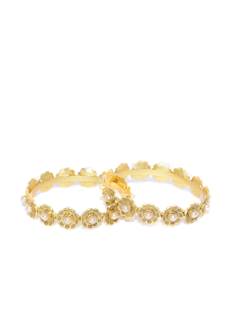 YouBella Set of 2 Off-White Beaded Gold-Plated Bangles