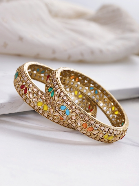 YouBella Set of 2 Antique Gold-Plated Stone-Studded Bangles