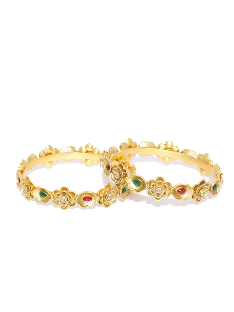 YouBella Set of 2 Red & Green Gold-Plated Stone-Studded Floral Bangles