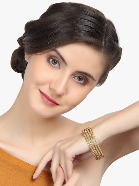 Adwitiya Collection Set of 4 24K Gold-Plated Stone-Studded Handcrafted Designer Bangles