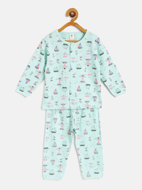 TOFFY HOUSE Girls Sea Green & Pink Boat Print Night Suit