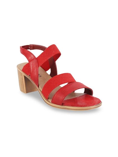 Metro Women Red Solid Block Heels