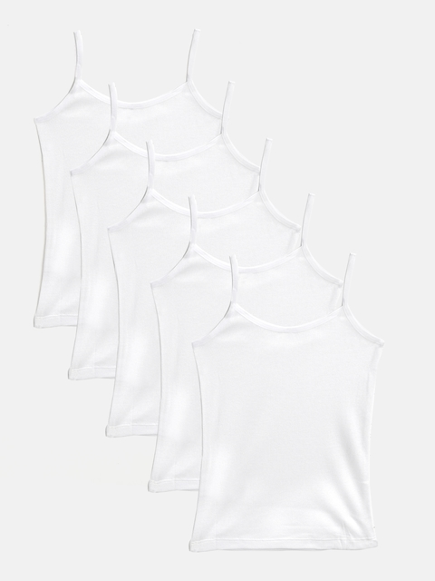 Marks & Spencer Girls Pack Of 5 White Solid Camisoles