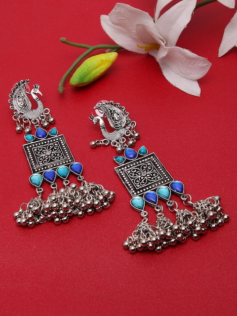 Moedbuille Silver & Blue Handcrafted Peacock Shaped Drop Earrings