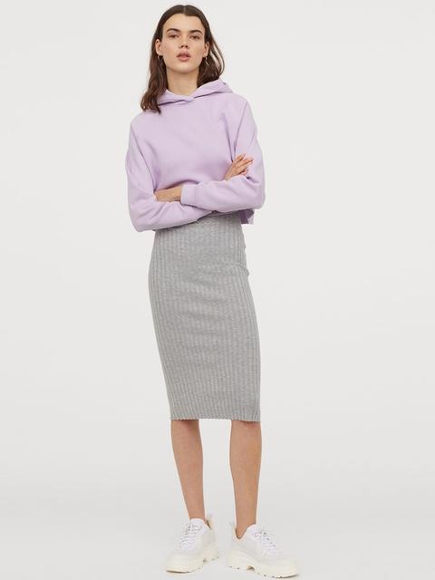 H&M Women Grey Solid Rib-Knit Skirt