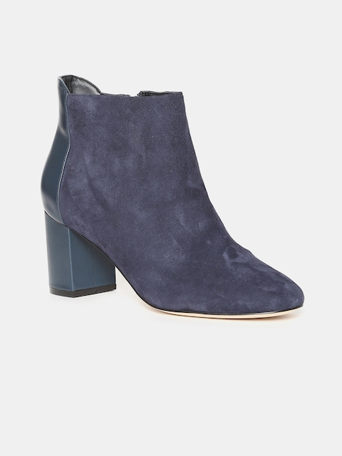 Cole Haan Women Blue Solid Suede Heeled Boots