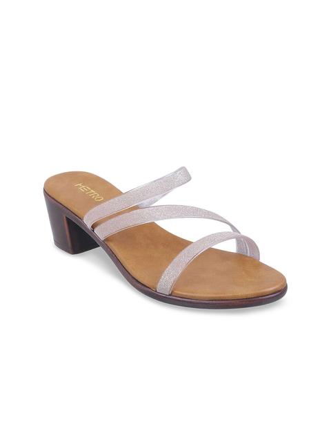 Metro Women Silver-Toned & Brown Solid Heels