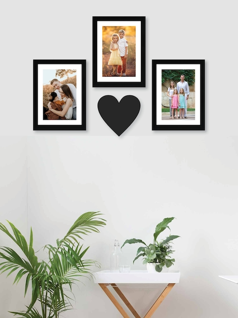 RANDOM Set of 3 Black Solid New Synthetic Photo Frames with Heart Plaque