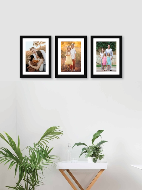 RANDOM Set Of 3 Black Solid Synthetic Photo Frames With Mount Paper