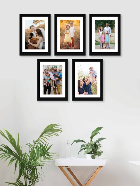 RANDOM Set Of 5 Black Solid Synthetic Photo Frames With Mount Paper