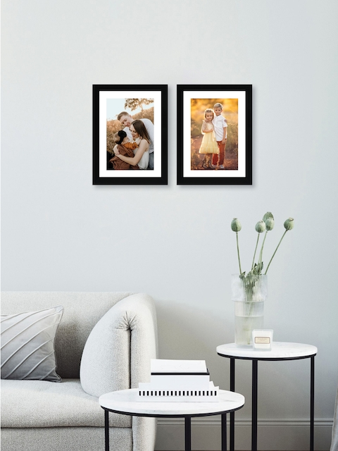RANDOM Set of 2 Black Solid New Synthetic Photo Frames