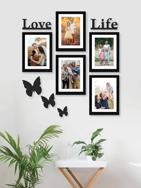 RANDOM Set Of 5 Black Solid Synthetic Photo Frames With Mount Paper & 3 Butterfly Plaques