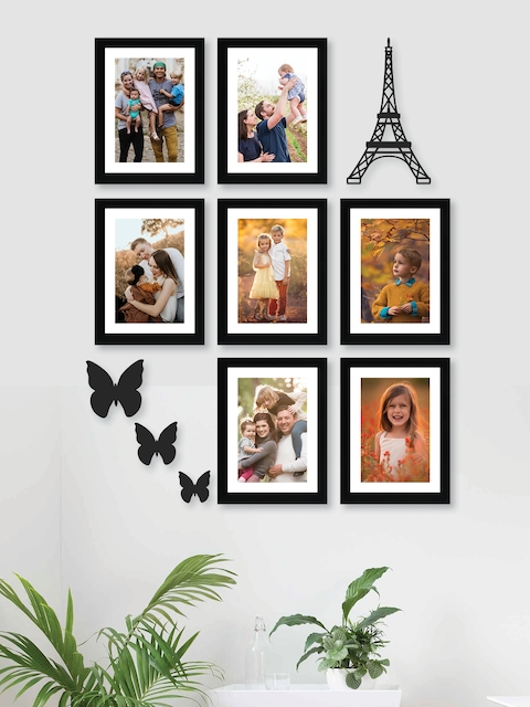 RANDOM Set of 7 Black Solid Synthetic Photo Frames