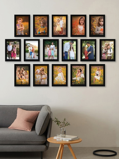RANDOM Set Of 16 Black Solid Synthetic Collage Photo Frames