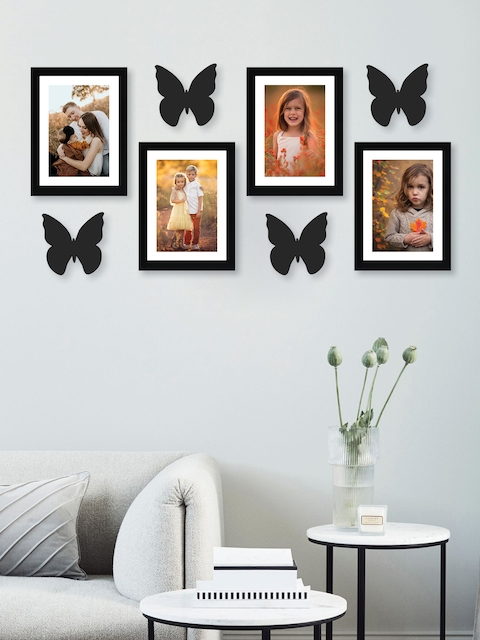 RANDOM Set of 4 Black Solid New Synthetic Photo Frames with Butterfly Plaques