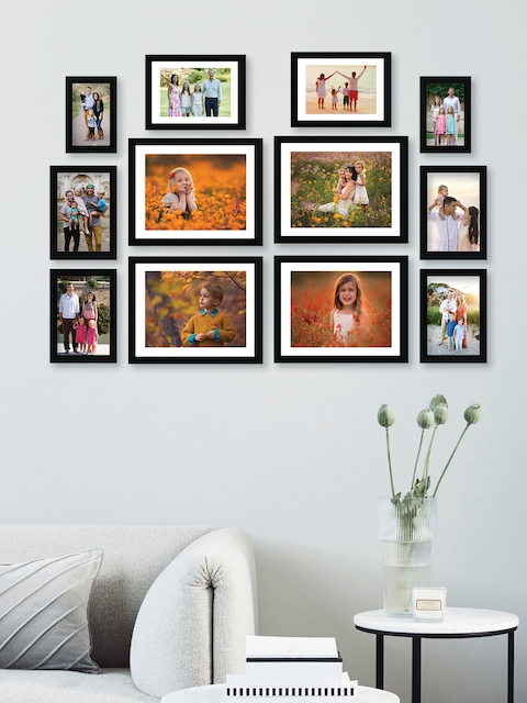 RANDOM Set of 12 Black Solid Synthetic Collage Photo frames