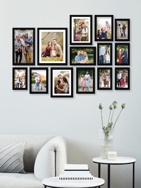 RANDOM Set of 14 Black Solid Synthetic Photo frames