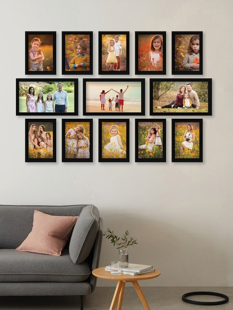 RANDOM Set of 13 Black Solid New Synthetic Collage Photo Frames