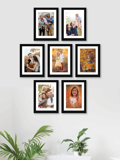 RANDOM Set Of 7 Black Solid Synthetic Photo Frames With Mount Paper
