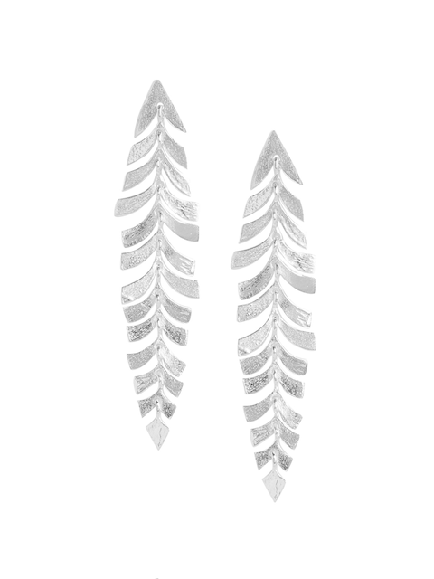ahilya Silver-Toned 92.5 Sterling Silver Oxidised Feather Shaped Studs