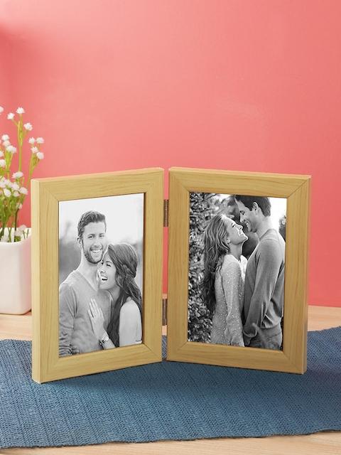 WISHTANK Beige Solid Dual Tabletop Vertical Photo Frame