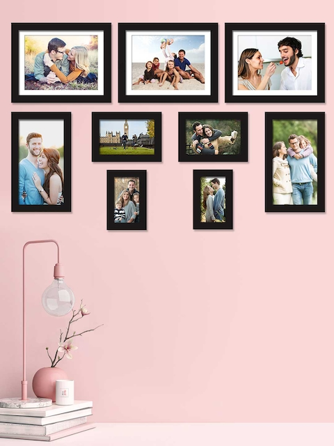 Art Street Set Of 9 Black Solid Individual Photo Frames