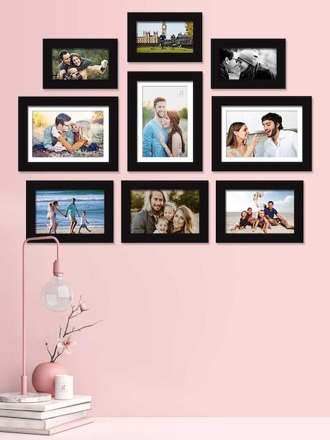Art Street Set Of 9 Black Solid Individual Photo Frames