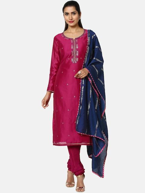 Soch Magenta & Navy Blue Silk Blend Unstitched Dress Material