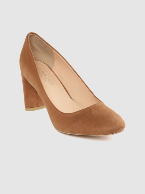 Shoe Couture Women Brown Suede Solid Pumps