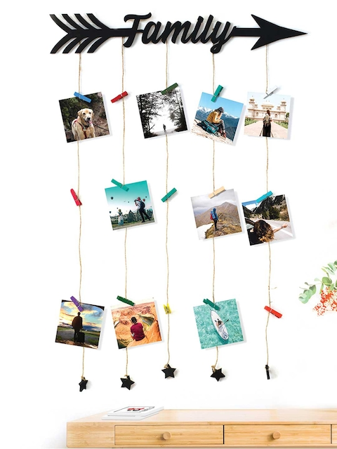 Art Street Black Family Wall Hanging 20 Photos Holders with Clips