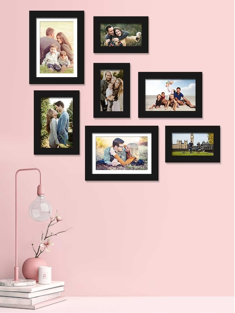 Art Street Set Of 7 Black Solid Individual Photo Frames