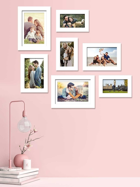Art Street Set Of 7 White Solid Individual Photo Frames