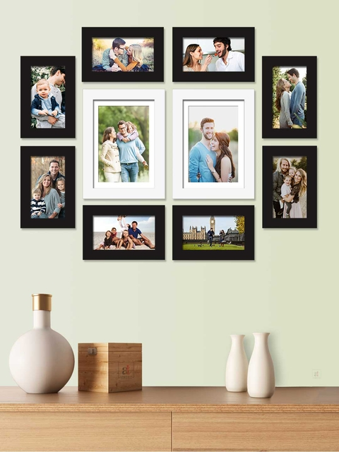Art Street Set Of 10 Black & White Solid Individual Photo Frames