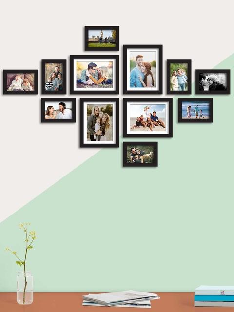 Art Street Set Of 12 Black Solid Individual Wall Photo Frames