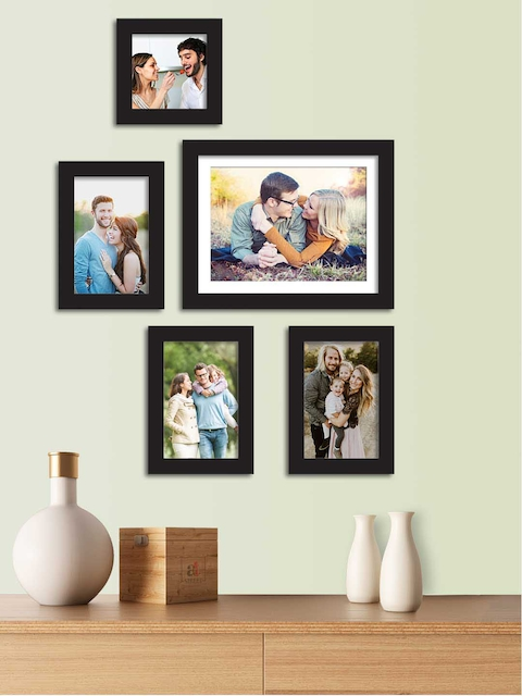 Art Street Set Of 5 Black Solid Individual Wall Photo Frames
