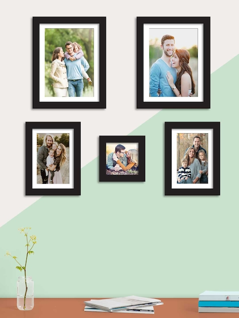 Art Street Set Of 5 Black Solid Individual Wall Photo Frames
