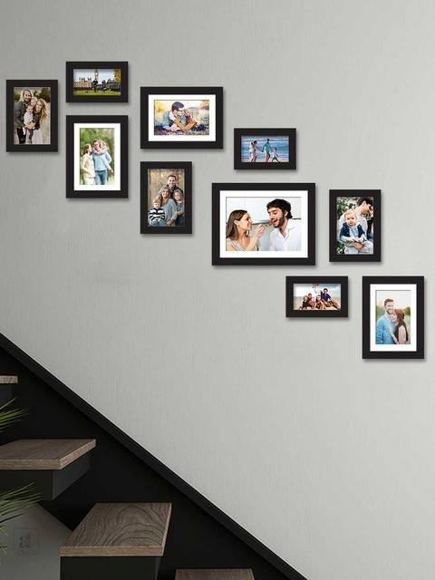 Art Street Set Of 10 Black Solid Individual Wall Photo Frames