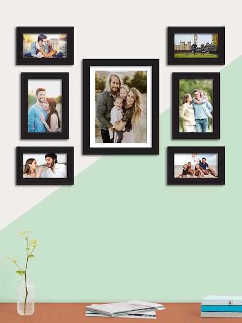 Art Street Set Of 7 Black Solid Individual Wall Photo Frames