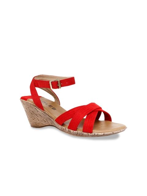 SOLES Women Red Solid Wedge Sandals