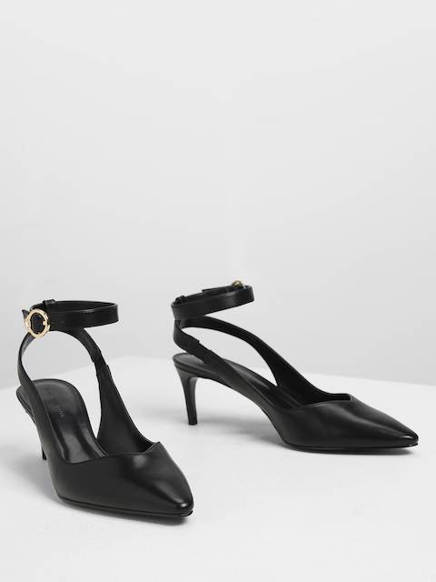 CHARLES & KEITH Women Black Solid Pumps