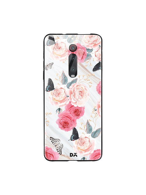 DailyObjects Unisex Beige & Pink Printed Flowers Marble Xiaomi Redmi K20 Glass Mobile Cover