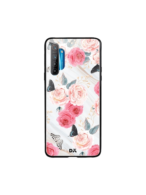 DailyObjects Unisex White & Pink Printed Flowers Marble Oppo Realme XT Glass Mobile Cover
