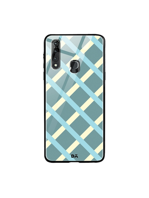 DailyObjects Unisex Teal Blue Printed Diagonal Checks Glass Vivo Z1 Pro Mobile Cover