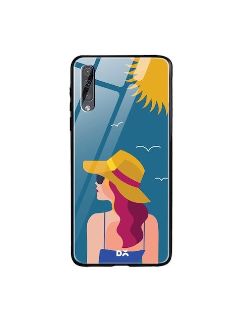 DailyObjects Turqouise Blue & Yellow Printed Sun Tan Samsung Galaxy A50s Glass Mobile Cover