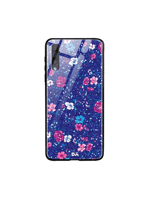 DailyObjects Blue & Pink Flowers Printed Samsung Galaxy A70S Marble Glass Mobile Cover
