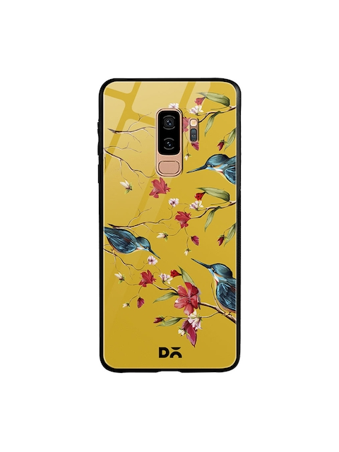 DailyObjects Yellow & Blue Printed Melody Birds Samsung Galaxy S9 Plus Glass Mobile Cover