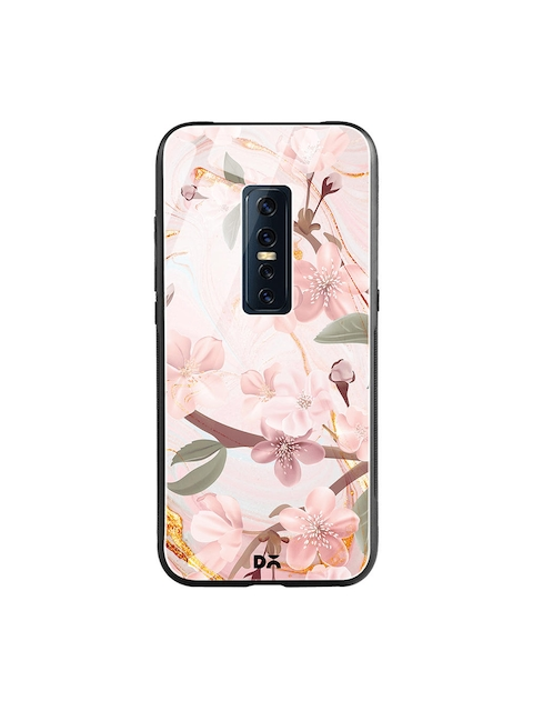 DailyObjects Pink & Blue Marble Flowers Vivo V17 Pro Glass Mobile Cover